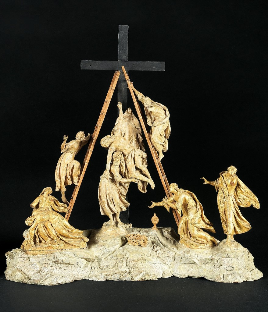 A finely carved Calvary groups The Deposition from the Cross South German first half of the 18th century